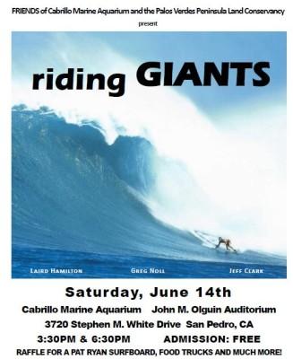 """THIS SATURDAY! showing of """"RIDING GIANTS"""" Cabrillo Marine Aquarium FREE!"""