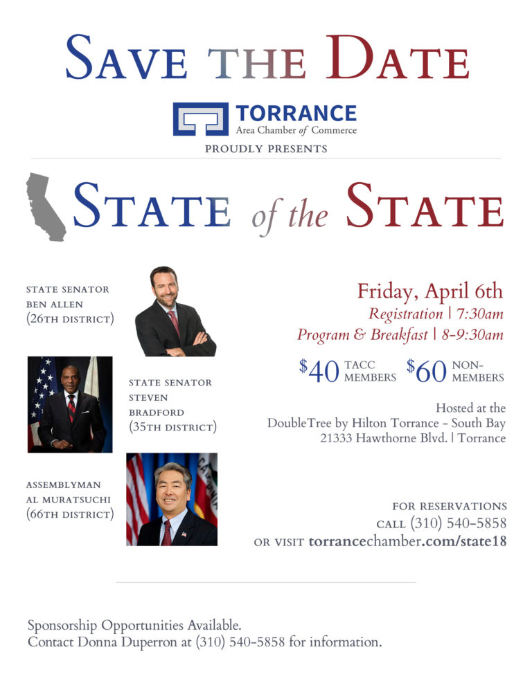 Save the Date - State of the State @ DoubleTree by HIlton Torrance - South Bay | Torrance | California | United States