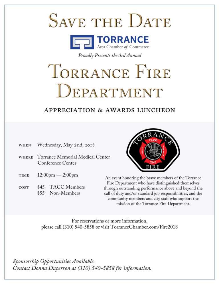 Save the Date - Torrance Fire Department Appreciation & Awards Luncheon @ Torrance Memorial Medical Center | Torrance | California | United States