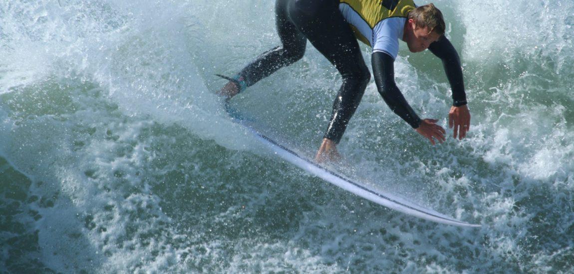 Big outside waves feed shorebreak at South Bay Boardriders/RiderShack Surf Contest in Manhattan Beach