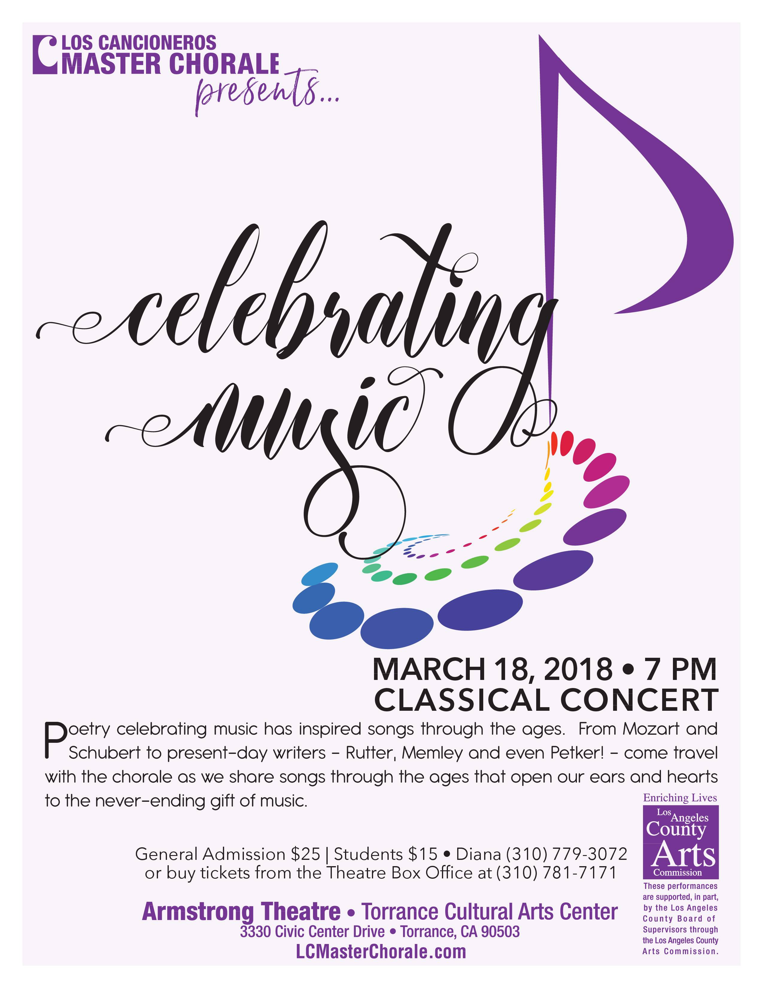 Celebrating Music Classical Concert @ Armstrong Theatre-Torrance Cultural Arts Center | Torrance | California | United States