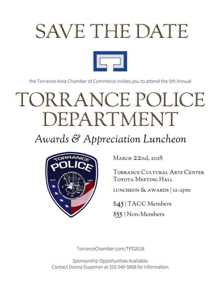 Torrance Police Department Awards & Appreciation Luncheon @ Torrance Cultural Arts Center, Toyota Meeting Hall | Torrance | California | United States